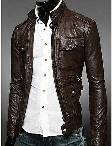 SU Coreano Semplice Abbigliamento In Pelle Slim Cappotto Charels Uomo, Nero, M