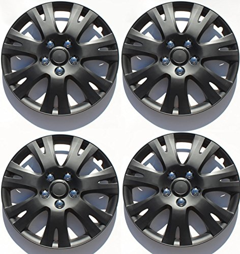 ABS Plastic Aftermarket Wheel Cover Matte Black Special Finish 16 Inch Hubcaps 4 Pieces Universal fit most 16″ rims (Mazda 6 2009 2010)