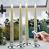 "Timer 11"" H LED Flameless Wax Coverd Taper Candles -Warm White Lights With Removable Silver Candleholders, Set of 4 ivory"