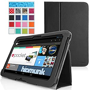 MoKo Slim Folding Cover Case for Google Nexus 10 Android Tablet by Samsung, BLACK (with Flip Stand, Integrated Elastic Hand Strap, and Stylus Loop)