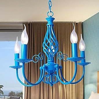 Luce e14x5 sky colore blu lampadario pendente moderna per camera da letto soggiorno - Amazon lampadario camera da letto ...