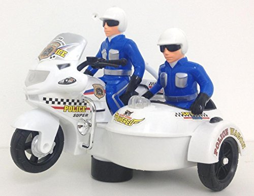 Police twin Motorcycle Never stop chasing with bump and go lights & siren action with police figures - 1