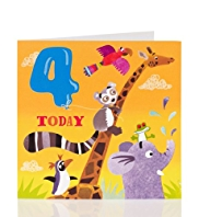 Zoo Animals 4th Birthday Card