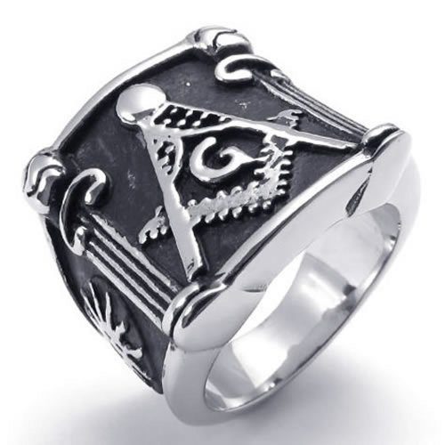 Konov Jewelry Vintage Embossed Freemason Masonic Stainless Steel Mens Ring, Black Silver - Size 9