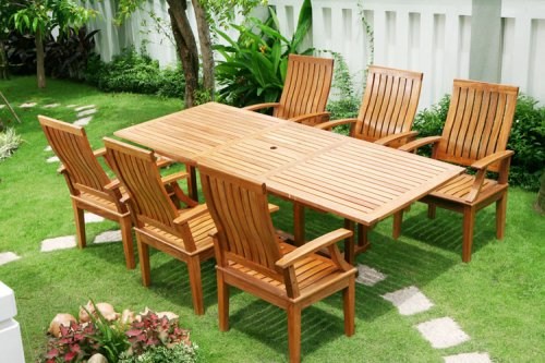 7PC RECTANGULAR DINING TABLE AND SIX CHAIRS - Patio Outdoor Garden Furniture Teak Shorea