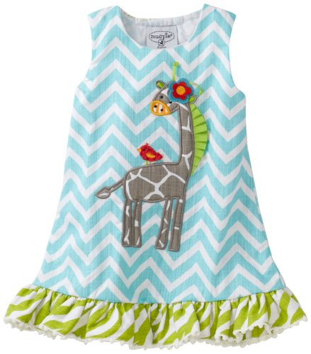 Mud Pie Baby-Girls Safari Giraffe Racerback Dress, Multi, 12-18 Months