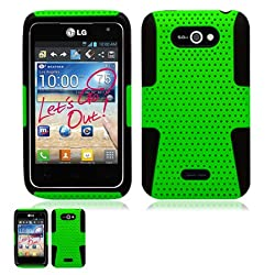 LG Motion 4G MS770 Green and Black Hybrid Case