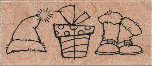 Santa Trio Wood Mounted Rubber Stamp (N199)