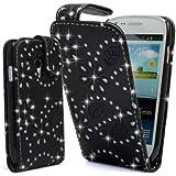Mobile Bar Diamond Noir Housse étui coque cuir avec rabat pour Samsung Galaxy S3 Mini i8190