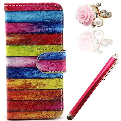Vandot Accessories Set Phone Case Silicone Case For Apple Iphone 6 (4.7 Inches) Pu Leather Cover Leather Case Elegant Bling Shining Luster Crystal Pink Blue Yellow Pink Red White Orange Colored Rock Magnetic Closure Magnetic New Flip Book Style Multi-Func front-932877