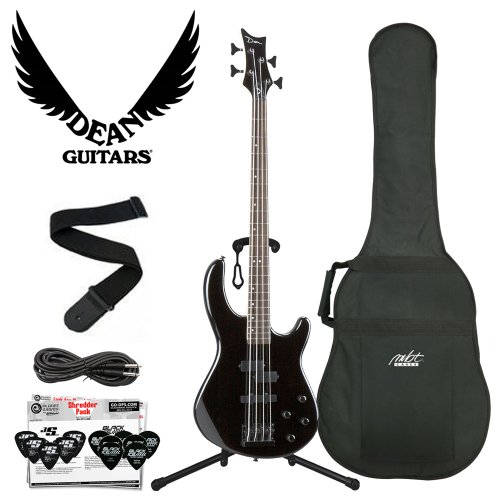 Dean Guitars E10APJ-CBK-Kit04 Dean Edge 10 Active PJ Bass, Classic Electric Bass – Black with Cable, Planet Waves 12 Pick Shredder Pack, Ultra Stand and Coffin Case Body Bag