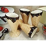 D'Lusso Designs Home Decorative Four Piece Waffle Cone Design Ceramic Ice Cream Cup Set