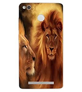 ColourCraft Lions Beautiful Painting Design Back Case Cover for XIAOMI REDMI 3X