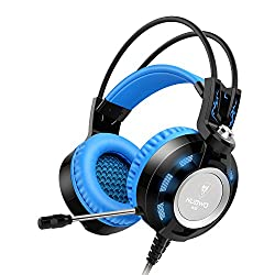 Headset,Ailihen K6 Gamer Gaming Headsets with Microphone for PC Laptop Computer, 3.5mm USB 2.0 Over Ear Headphones Headsets with In-Line Volume Control LED Light 6.5 ft Long Cable(Black/Blue)