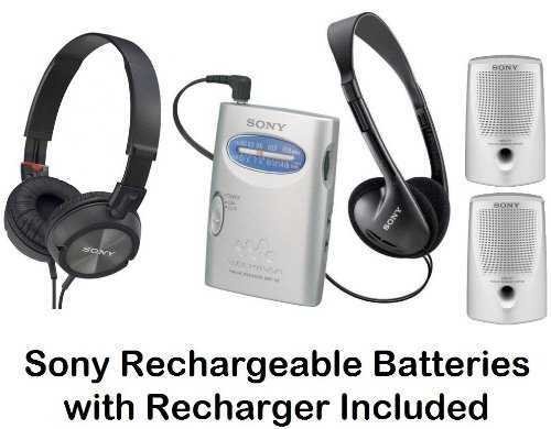 Sony Walkman Portable Lightweight AM/FM Stereo Radio with Belt Clip, Over the Head Stereo Headphones, Pressure Relieving Studio Monitor Headphones (Black) & Passive Lightweight Portable Speakers - Plus Sony Rechargeable Batteries with Recharger
