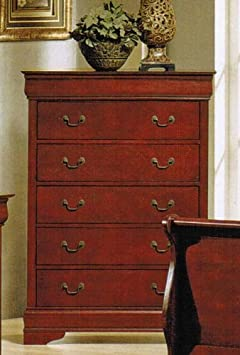 Bedroom Chest with Hidden Drawers in Cherry Finish
