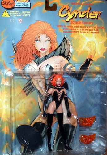 Skybolt Toyz Year 1998 Lightning Comics Hellina/Cynder #1 Series 6 Inch Tall Action Figure - CYNDER with 11 Points of Articulation, 2 Fire Hand Accessories and Collector's Display Stand - 1
