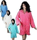 Bademantel Morgenmantel Saunamantel Damen mit Kapuze und Reißverschluss Farben Türkis