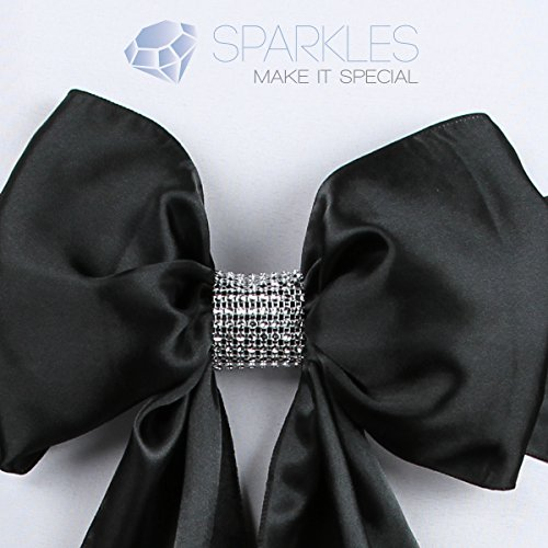Sparkles Make It Special 25-pcs Rhinestone Bow Covers Chair Sash Wrap with Velcro Enclosure Diamond Silver