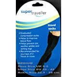 SUPER TRAVELLER Compression Travel Flight Socks Size 6-9, 39-43 MEDIUM - BLACKby Super Traveller