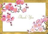 Entertaining with Caspari Plum Blossom Thank You Notes, Set of 8
