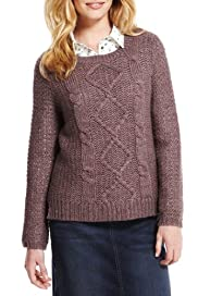 Indigo Collection Cable Knit Jumper with Wool [T66-2591-S]
