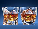Twist Whiskey Glasses - Set Of 2. Perfect Whisky Glass or Scotch Glasses by Ashcroft Fine Glassware.