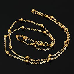 20PCS 4mm brass Necklace Chain,Self Closing Clasp,Length 30 inches, 18K gold