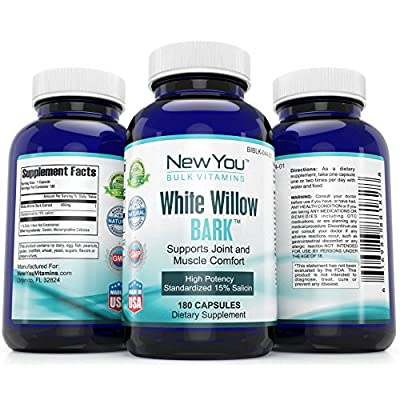 White Willow Bark Soothing Comfort For Joints And Muscles New You Bulk Vitamins Standardized 15% Salicin White Willow Bark 450mg 180 Capsules 1 Bottle