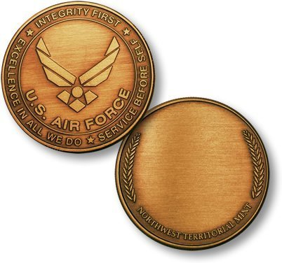 Air Force Emblem - Wreath Bronze Antique Challenge Coin