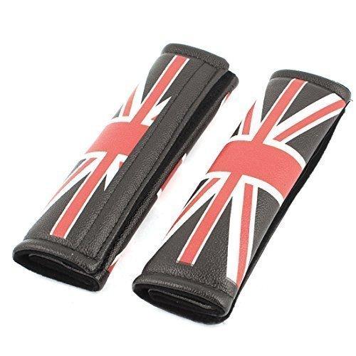 2 Pz Rosso E Nero Bianco Union Jack Tema Auto Cintura Di Sicurezza Tracolla Coperture