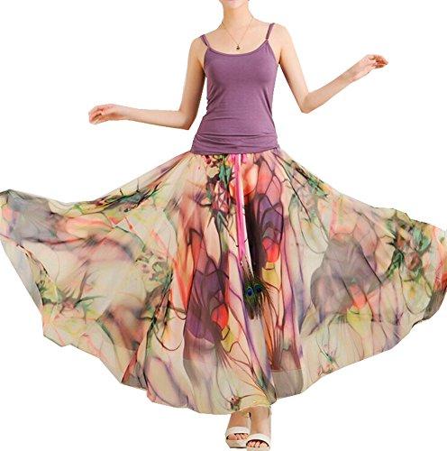 Izacu(TM) Womens Blending Chiffon Retro Long Maxi Skirt Vintage Dress (one size, 2025floral)
