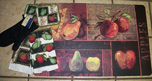Stain-proof Large 22 x 34 x.8 Cushion/fatigue kitchen Mat/rug with matching Apple Dishtowels and Potholders