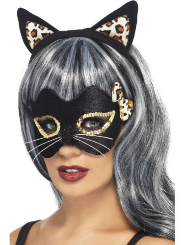 Smiffy's Women's Midnight Kitty Eye Mask and Ear Set with Leopard Print and Applique On Display Card, Black, One Size