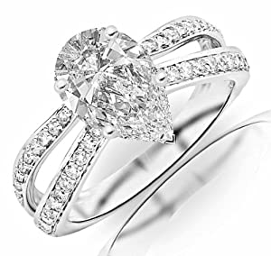 1.01 Carat Pear Cut / Shape 14K White Gold Contemporary Double Row Split Shank Engagement Ring ( D-E Color , SI2 Clarity )