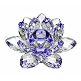 Amlong Crystal Hue Reflection Crystal Lotus Flower with Gift Box, Blue, 3-Inch