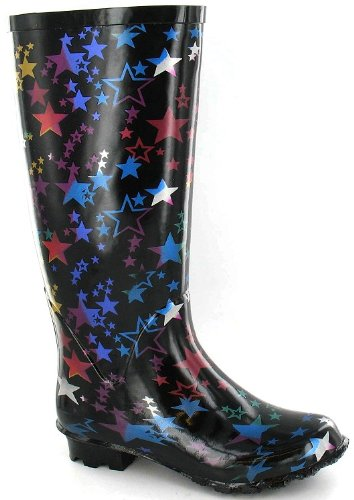 Funky Wellies Kids Black With Stars