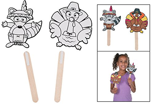 "Paper Color Your Own Fall Friends Stick Puppets - Thanksgiving Fall Crafts (12 Pack) 4 3/4"" - 5"" x 9"" - 9 1/2"". Wood, Paper. - 1"