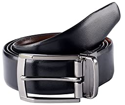 Savile Row High Quality Men\'s Reversible 100% Leather Classic Dress Belt (Size 32)