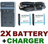 Travel Charger Set (AC Wall + Car Adapter) + Two (2) KLIC-7001 Battery Packs for Kodak EasyShare M341, M1063, M1073 IS, M320, M340 & M753 Digital Cameras