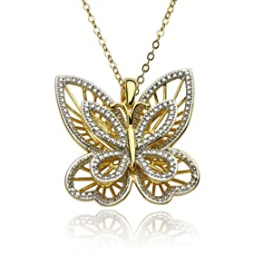 Yellow Gold Overlay Sterling Silver Butterfly Pendant, 18