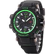 UQ Men S Sport Digital Analog Multifunctional Waterproof Watch With Calendar Green Dial Black Silicone Bracelet...