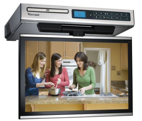 Find Discount Venturer KLV3915 15.4-Inch Undercabinet Kitchen LCD TV/DVD Combo