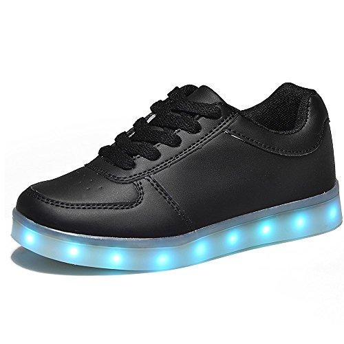 HUSK'SWARE LED 7 Colori Cambi- Sneaker Scarpe Bambini Bambina Unisex Collo Basso Tennis (EU 37, Nero)