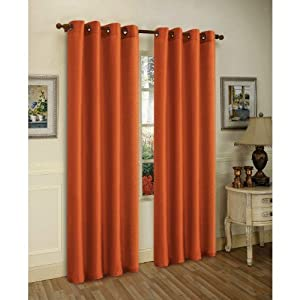 2 Piece Solid Orange Faux Silk Grommet Curtain