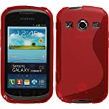 Coque en Silicone pour Samsung Galaxy Xcover 2 - S-Style rouge - Cover PhoneNatic Cubierta + films de protection