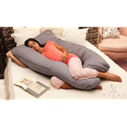 Naomi Home Cozy Body Pillow, Gray