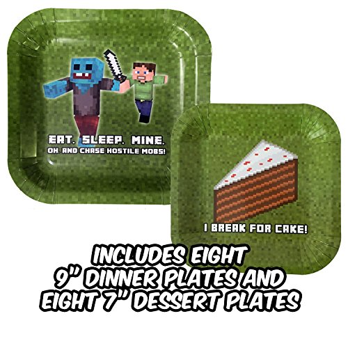 Birthday-Party-Plate-Sets-for-Mining-Themed-Parties-Service-for-8-New-Thicker-Plates-Tableware-Pixel-Style-Miner-Plates-Includes-Eight-8-9-Dinner-Plates-Eight-8-7-Dessert-Plates