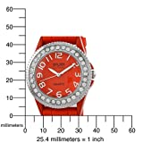 """Golden Classic Women's 2219_red """"Savvy Jelly"""" Rhinestone Red Silicone Watch"""
