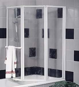 Schulte D1510 Badewannenfaltwand Badewannenaufsatz Duschwand 3-tlg. 1268x1400 mm, Kunstglas, Profilfarbe alunatur